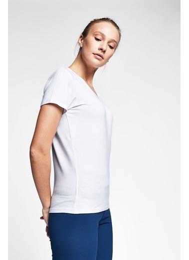 Lescon Beyaz Kadın T-Shirt 20S-2202-20N Beyaz